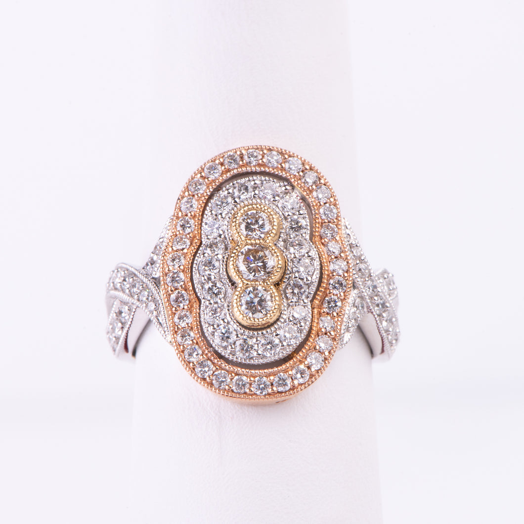 14kt White, Rose and Yellow  Gold Diamond Ring