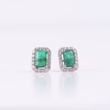 Load image into Gallery viewer, 14kt White Gold Emerald and  Diamond Earrings