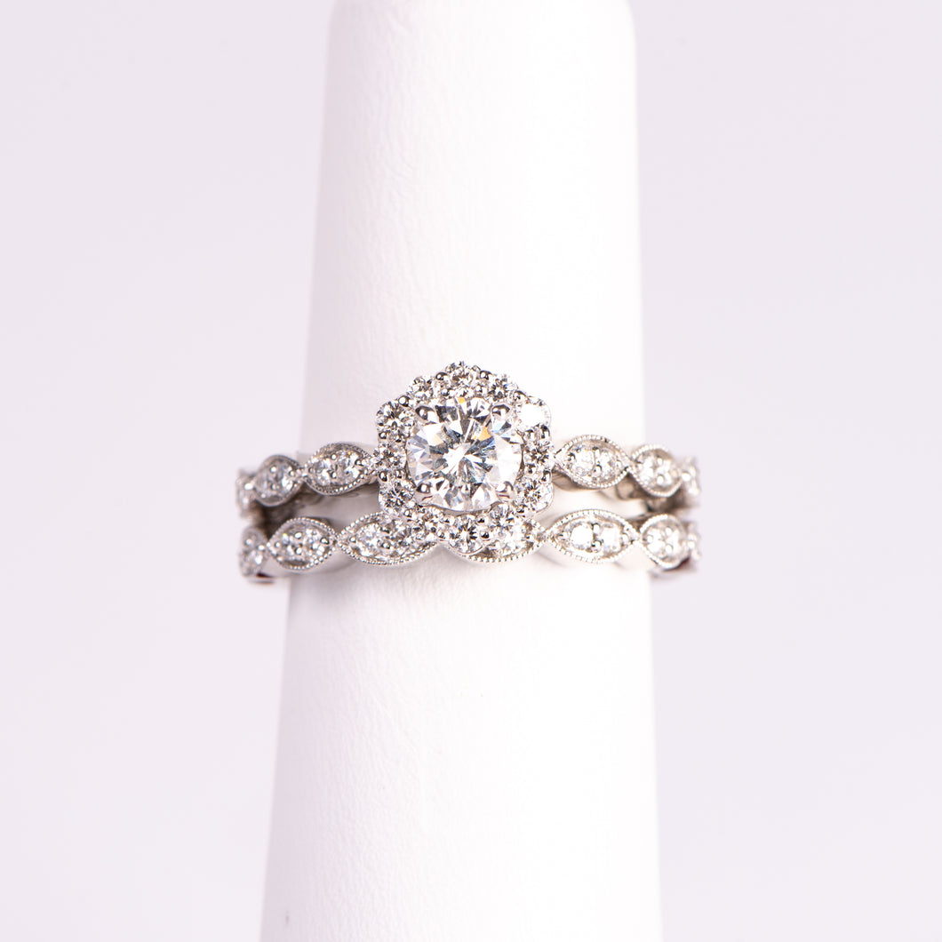 14kt White Gold Diamond Engagement Ring with Wedding Band