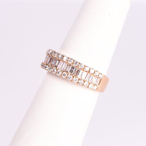 f 14kt Rose and White Gold Diamond Ring