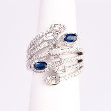 Load image into Gallery viewer, 14kt White Gold  Natural Blue Sapphire and Diamond Ring