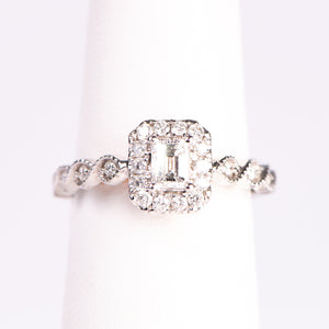 14kt White Gold Radiant Shaped  Diamond  Engagement Ring