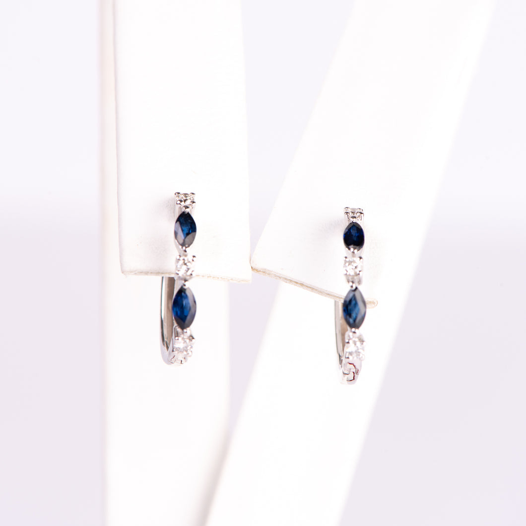 14kt White Gold Natural Sapphire and Diamond Earrings