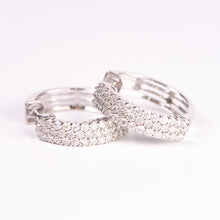 Load image into Gallery viewer, 14kt White Gold Diamond Hoops