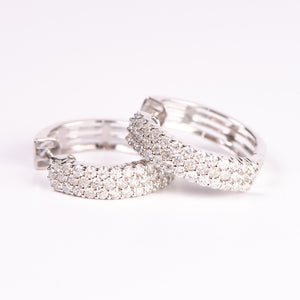 14kt White Gold Diamond Hoops