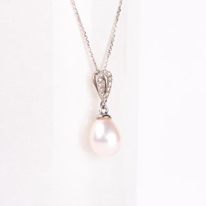 14kt Pearl and Diamond Pendant