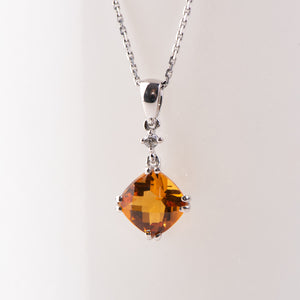 14kt White Gold Citrine Pendant