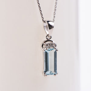 14kt White Gold Aquamarine and Diamond Pendant
