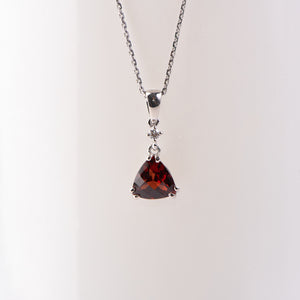 14kt White Gold Garnet and Diamond Pendant
