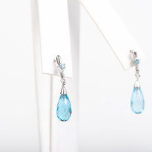 Load image into Gallery viewer, 14kt White Gold Topaz Earrings