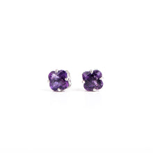 Load image into Gallery viewer, 14kt White Gold Amethyst Earrings