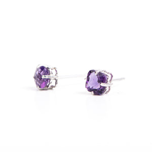 14kt White Gold Amethyst Earrings