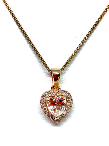 14kt Rose Gold Natural Morganite and Diamond Heart Shape Pendant