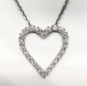 14kt White Gold Heart Shaped Diamond Pendant