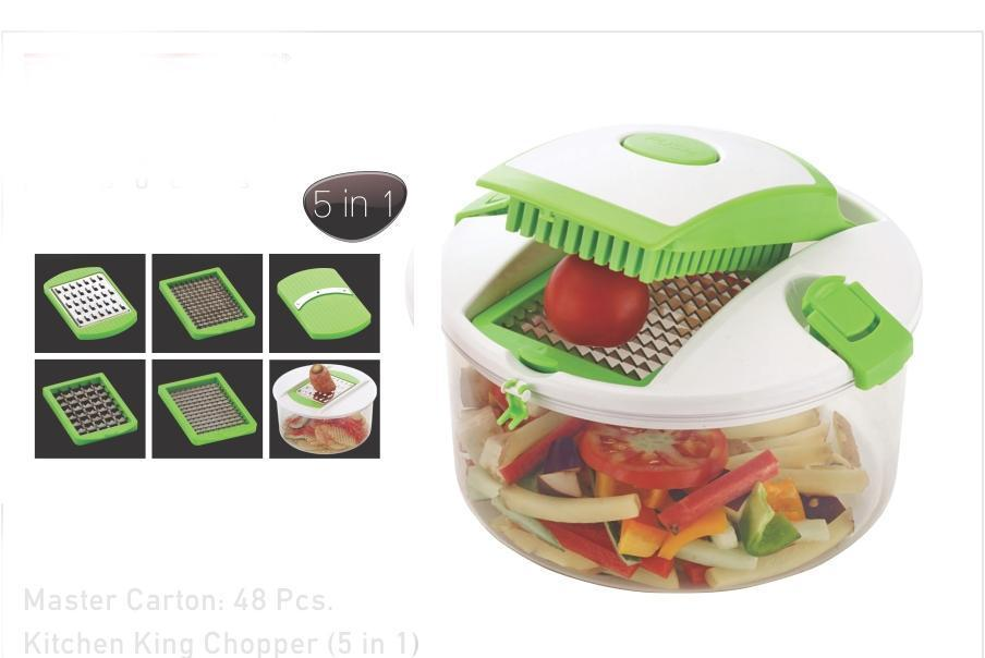 N01 Kitchen King Chopper 5 in 1 (Unbreakeble Container) [ Colour May be Very] - Gujjuseller.com