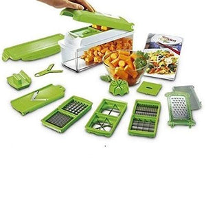 2005_12 in 1 Magic Super Dicer Fruit Cutter Vegetable CHIPSER Unbreakable New Push & Clean - Gujjuseller.com