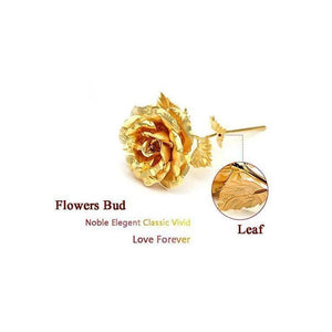 879 24K Artificial Golden Rose/Gold Red Rose with Gift Box (10 inches) - Gujjuseller.com