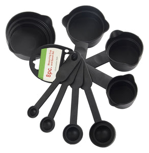 106 Plastic Measuring Cups and Spoons (8 Pcs, Black) - Gujjuseller.com