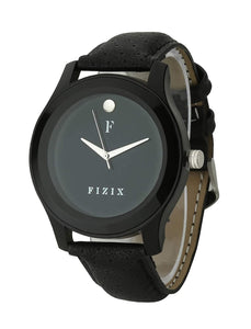 Fizix Men's Wrist Watch Black Round Dial with Black Leather Strap