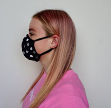 Load image into Gallery viewer, Female Black Polka Dot Face Mask