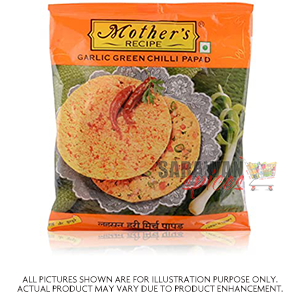Mothers Garlic Green Chill Papad 200G