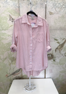 Pink and White Button Up Long Sleeve Shirt