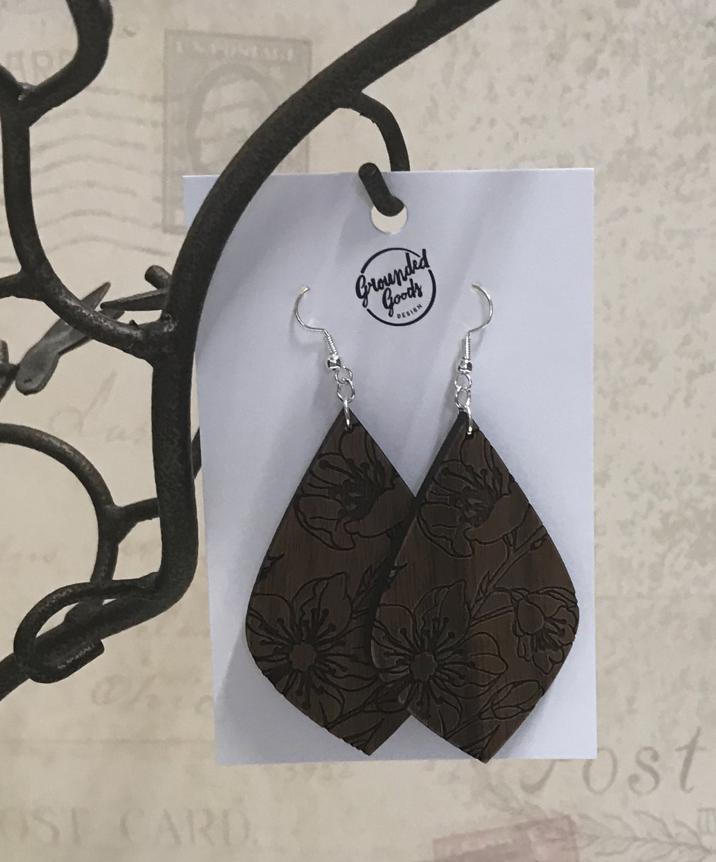 Teardrop Floral Cut Out Wood Earring