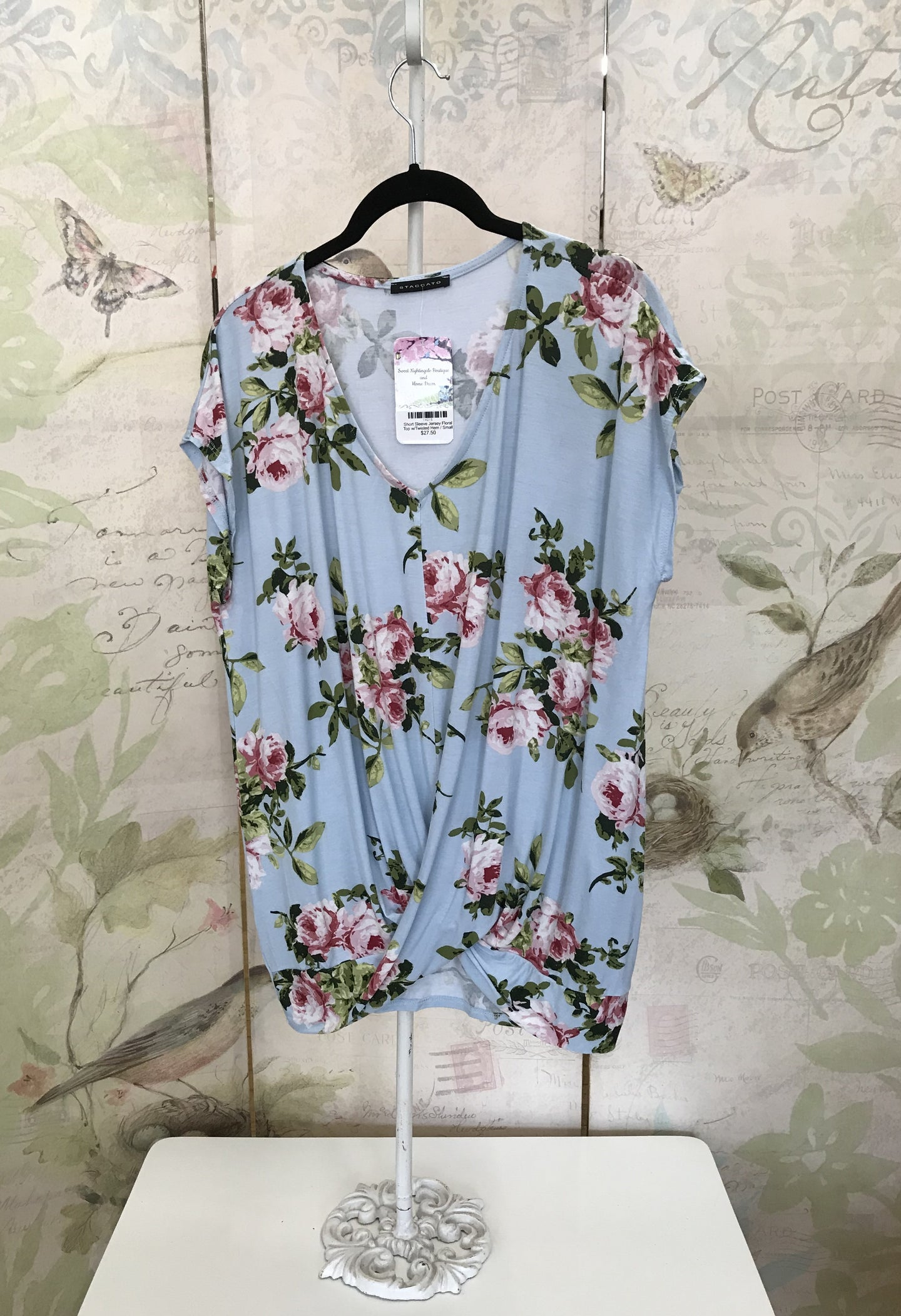 Short Sleeve Jersey Floral Top with Twisted Hem