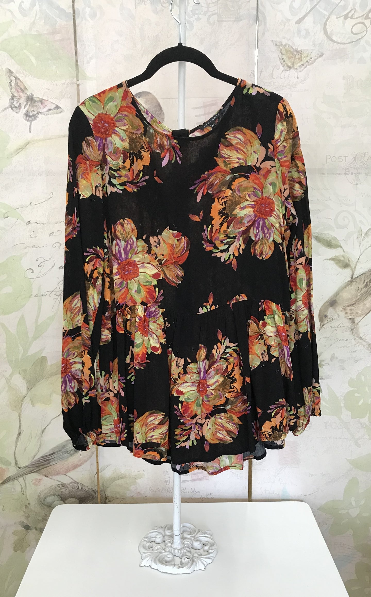 Floral Print Blouse with Peplum Bottom