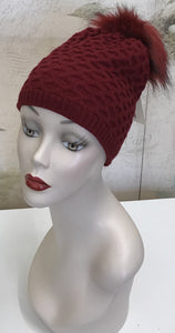 Red Beanie w/ Faux Fur Pom