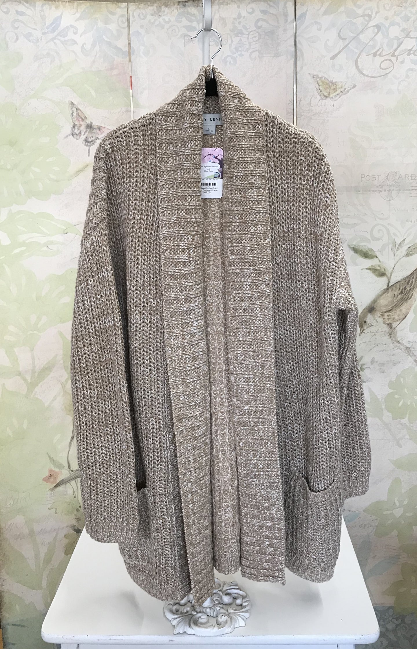 Wool Blend Ribbed Patch Pocket Cardigan