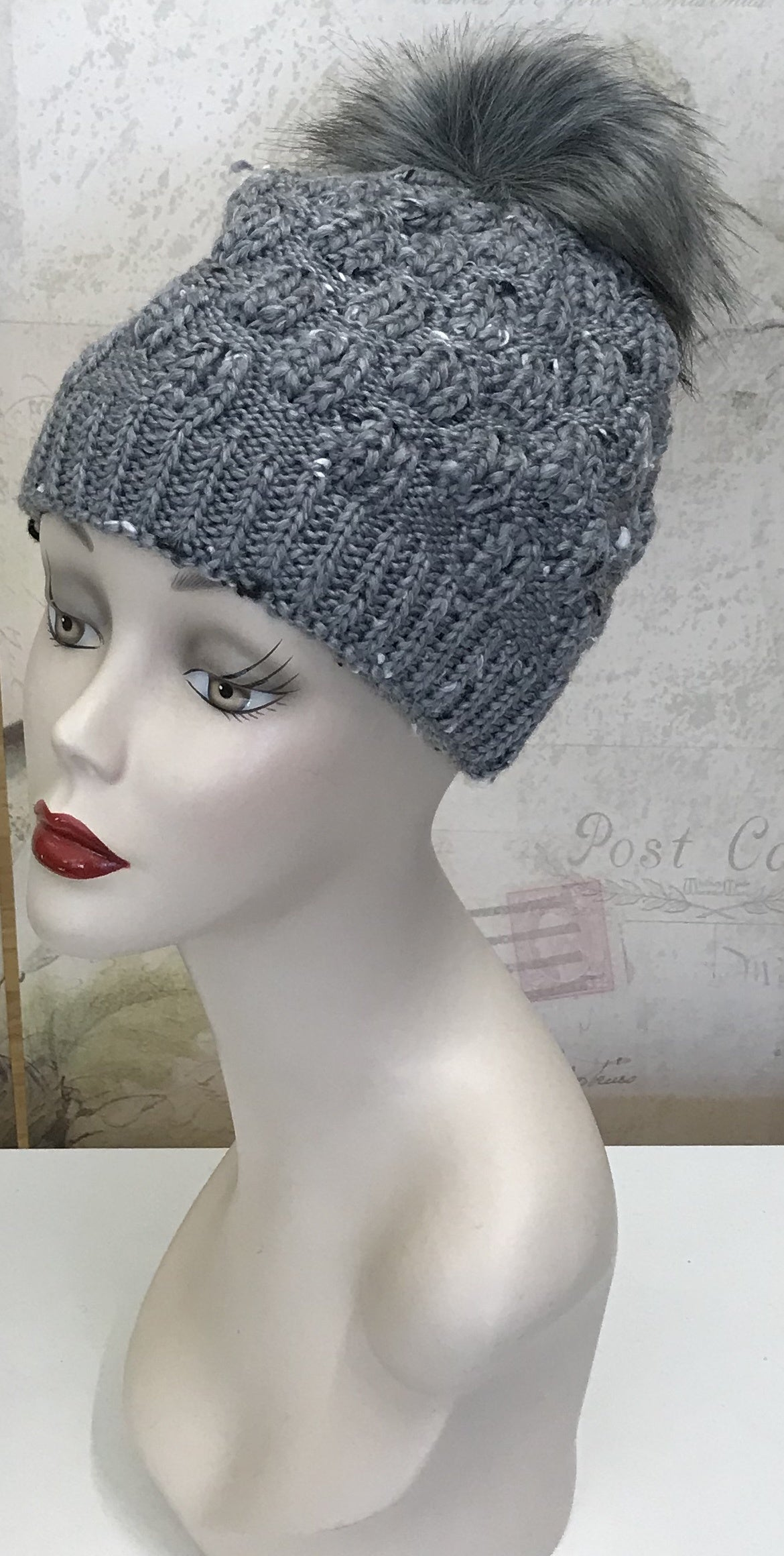 Grey Tweed Knit Beanie w/Faux Fur Pom