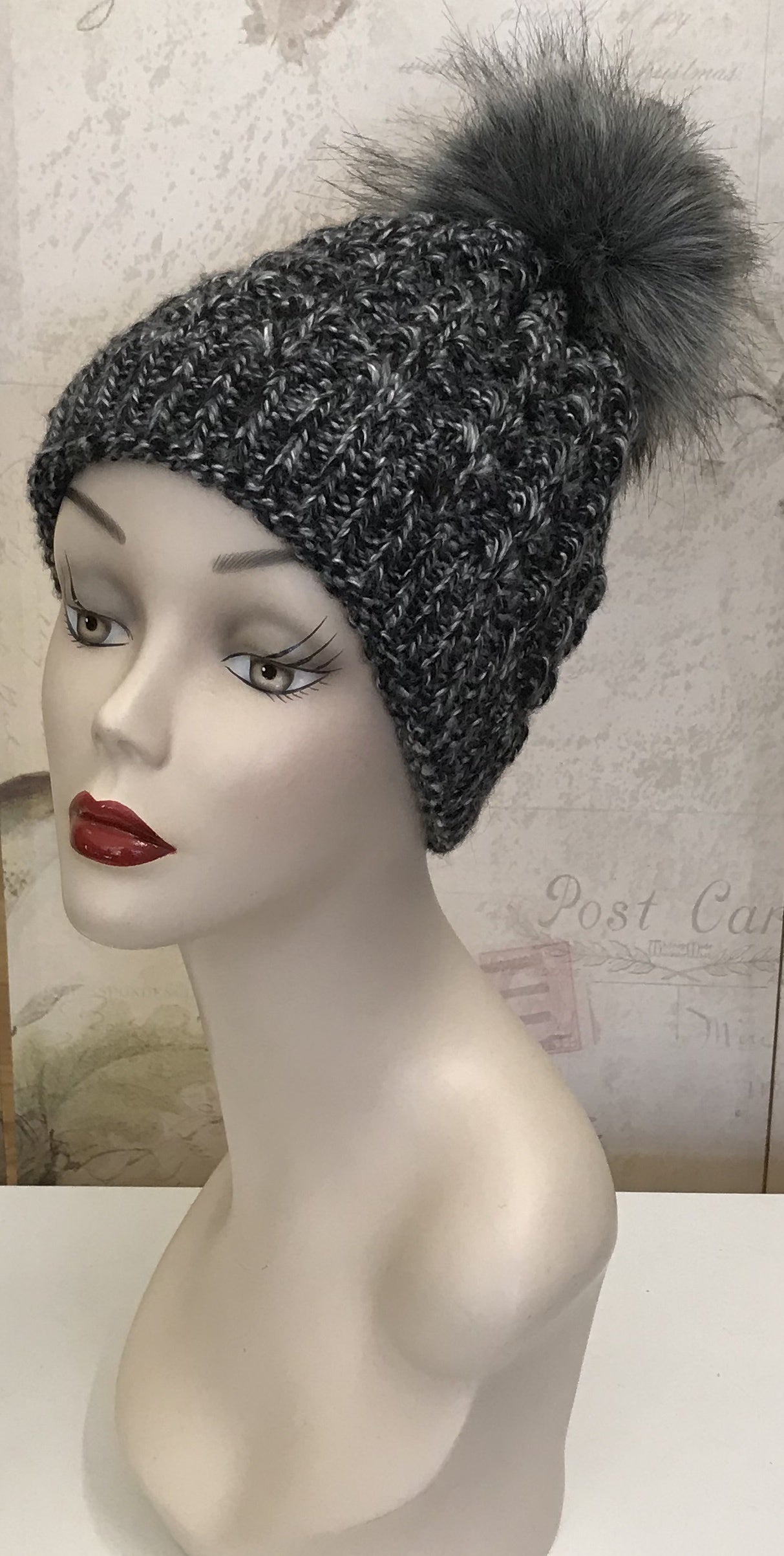 Salt & Pepper Beanie w/Faux Fur Pom