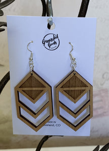 Chevron Cut Out Alder Wood Earrings