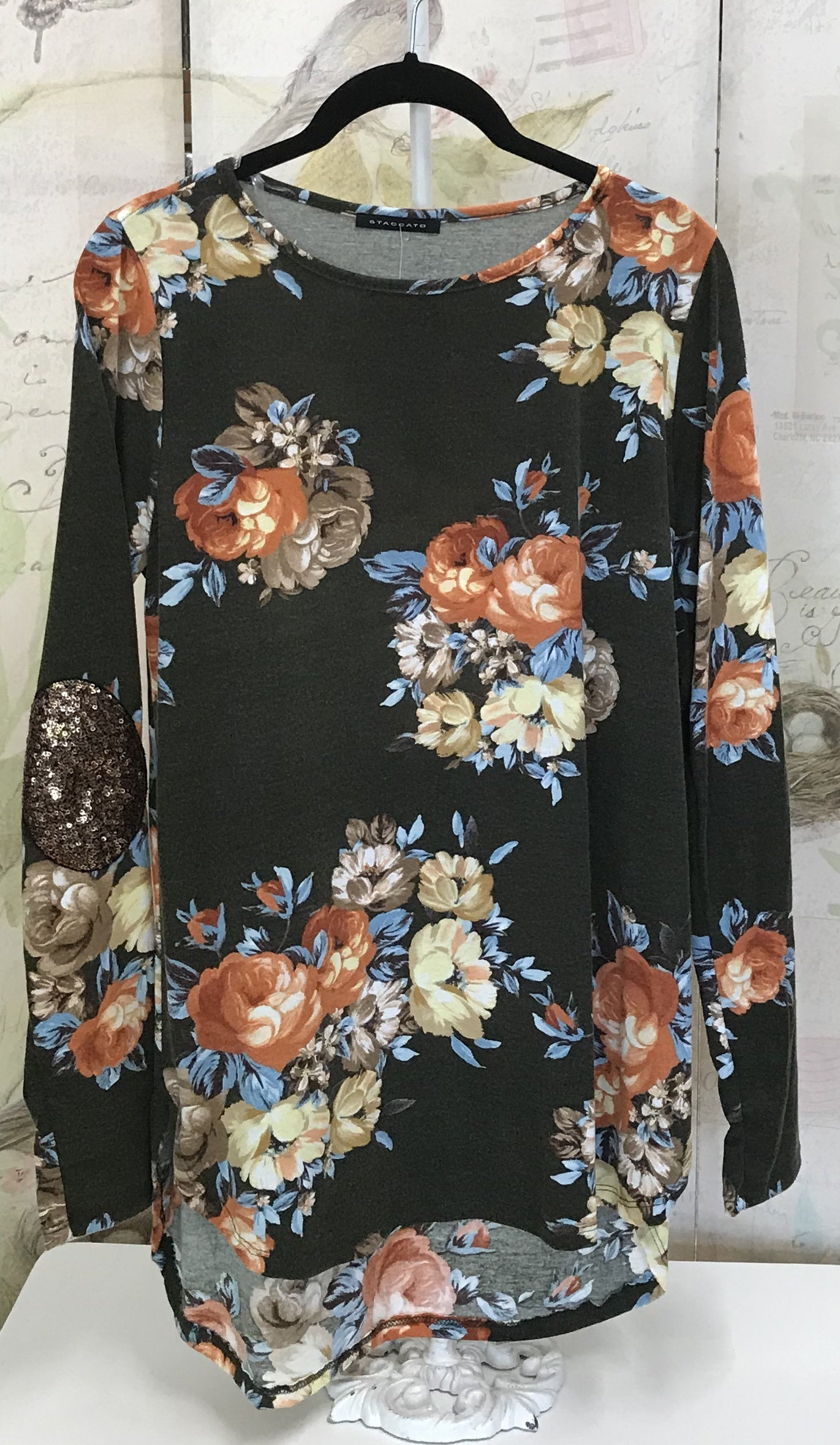 Long Sleeve Floral Top w/Sequin Elbow Patches