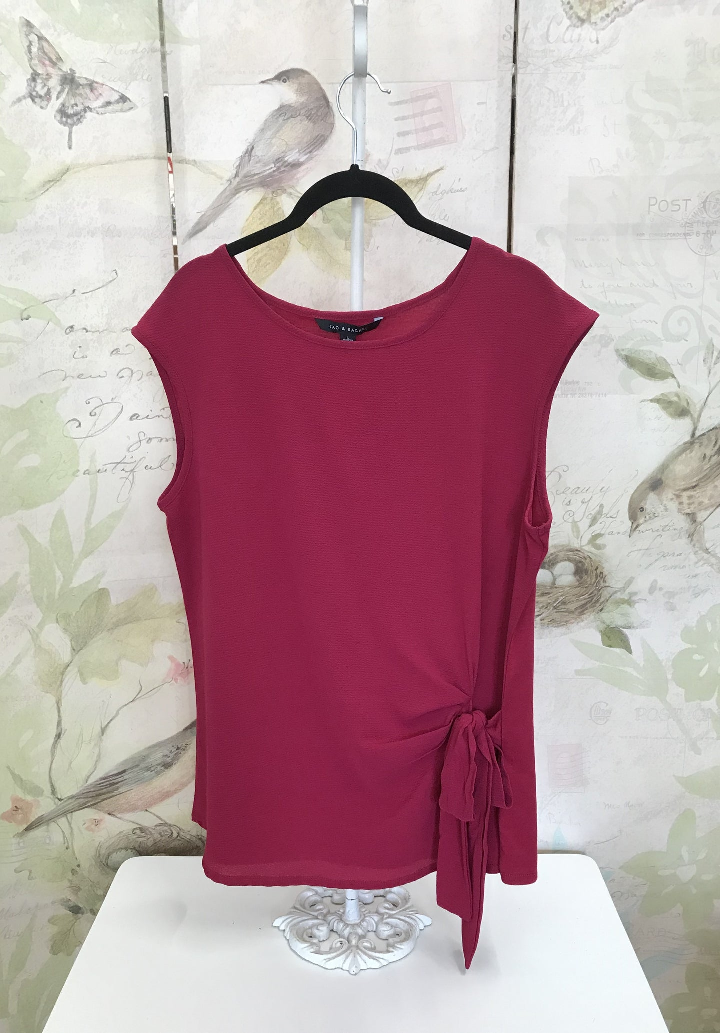Pomegranate Sleeveless Shirt with Side Tie
