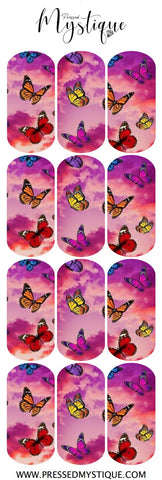 Pink Cloud Butterfly Decal
