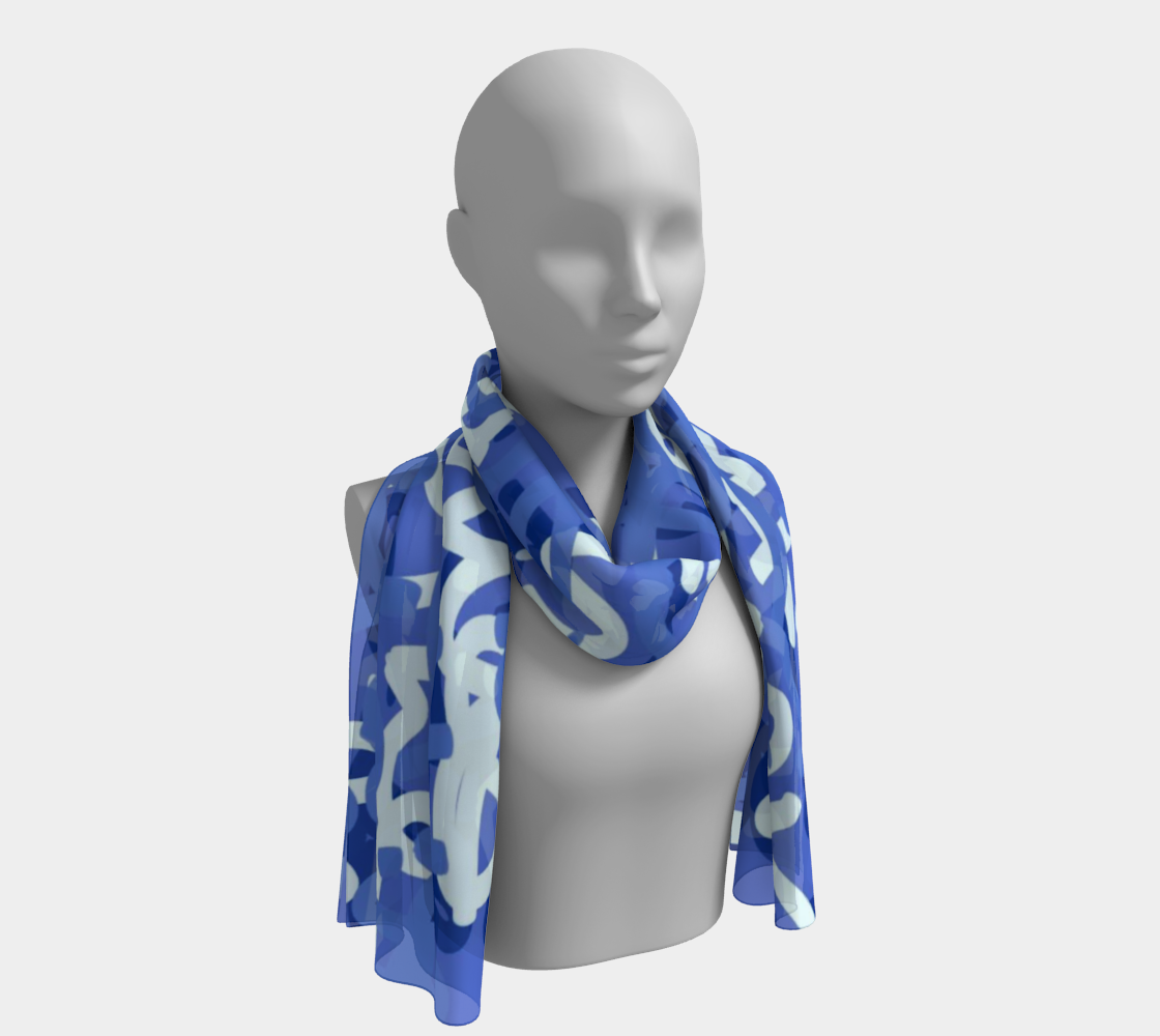 Love All Day Blue Long Scarf
