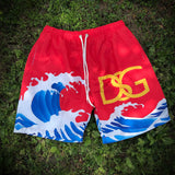 Wavy swim trunks.