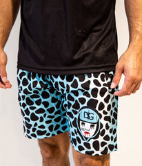 Blue Leopard Swim Trunks.