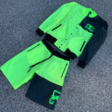 Lime vibe jacket and shorts Combo.