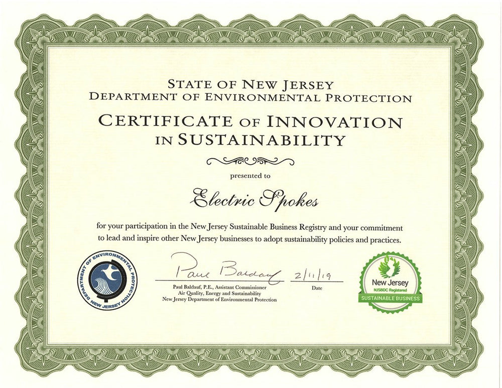 Voltaire Cycles receives Recognition from NJ's Department of Environmental Protection
