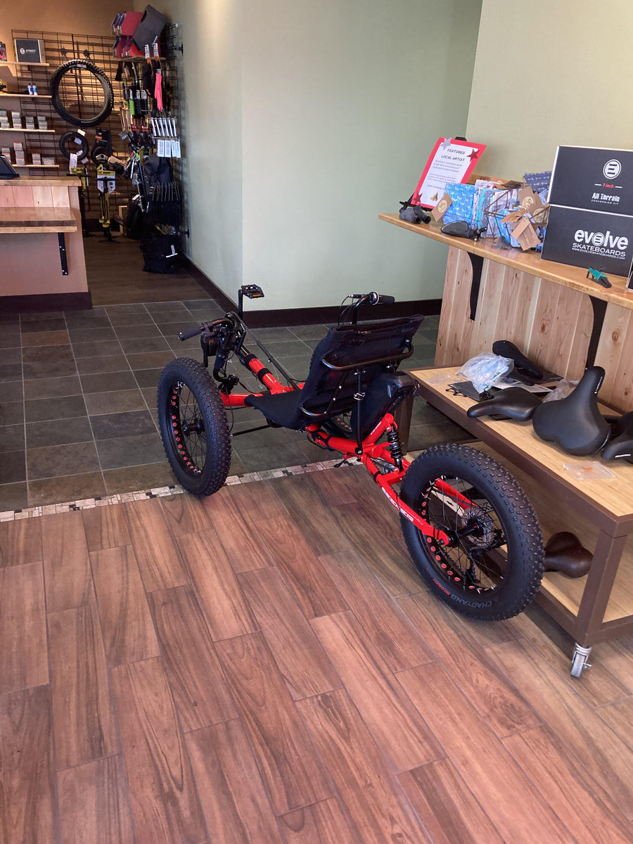 ELECTRIC Fat-Tad Trike with 1000w BBSHD Mid-Drive and Long Range 17AH Battery-Voltaire Cycles of Central Oregon