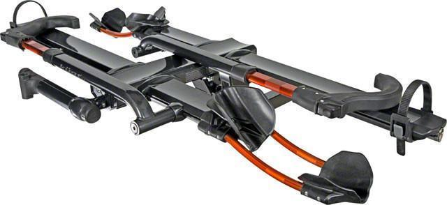 "Kuat NV 2.0 2-Bike Tray Hitch Rack: Metallic Gray and Orange, 2"" Receiver-Voltaire Cycles"