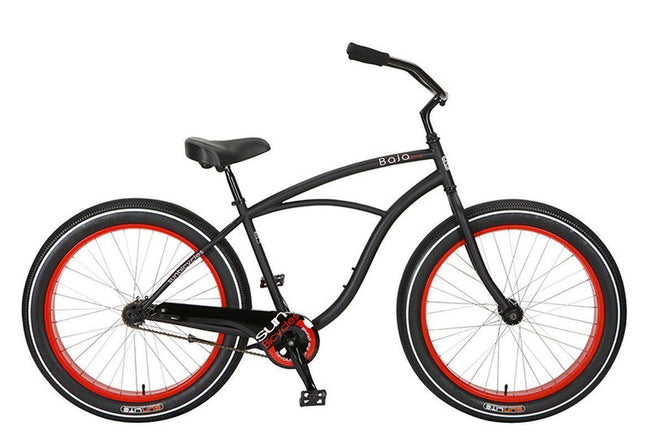 Baja Cruz - beach cruiser single-speed bicycle in black/red-Voltaire Cycles
