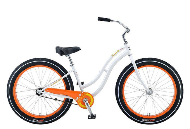 Baja Cruz - beach cruiser single-speed bicycle in white/orange-Voltaire Cycles