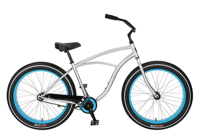 Baja Cruz - beach cruiser single-speed bicycle in blue/silver-Voltaire Cycles