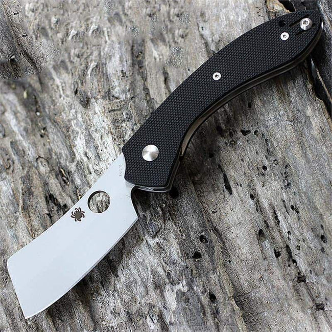 "Spyderco C177GP Roc Folding 3.07"" VG10 Bead Blast Cleaver Style Blade, Black G10 Handle-Voltaire Cycles"