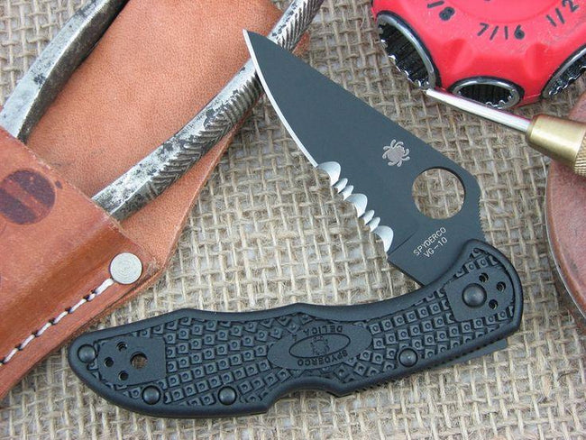 Spyderco Delica Plain with Serrated Edge - Black Blade (C11PSBBK )-Voltaire Cycles