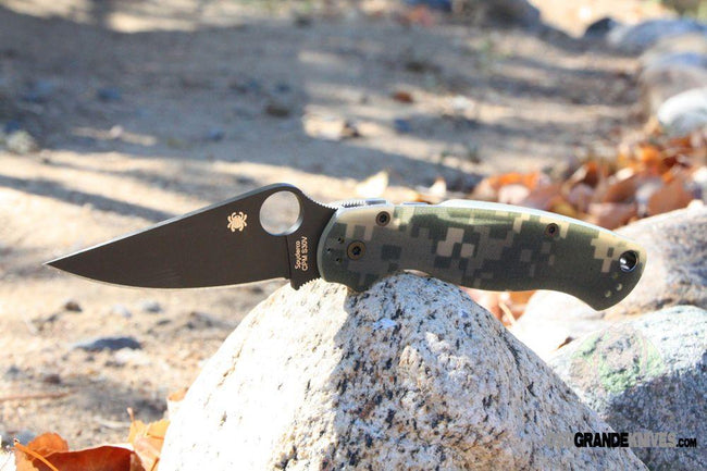 Spyderco Para-Military 2 Black Plain Edge with G10 Camo Handle - C81GPCMOBK2-Voltaire Cycles